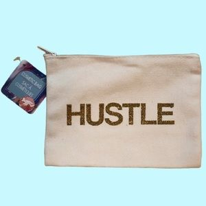 "2 for $15 ""Hustle"" Canvas Cosmetic Bag NWT"